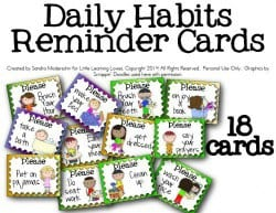 Daily Chore reminder cards LLL 250 x