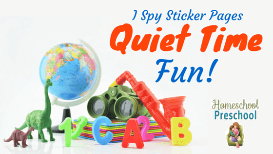 I spy sticker pages for quiet time fun. This fun homeschool preschool activity will keep your children learning and having fun this summer. HomeschoolPreschool.net