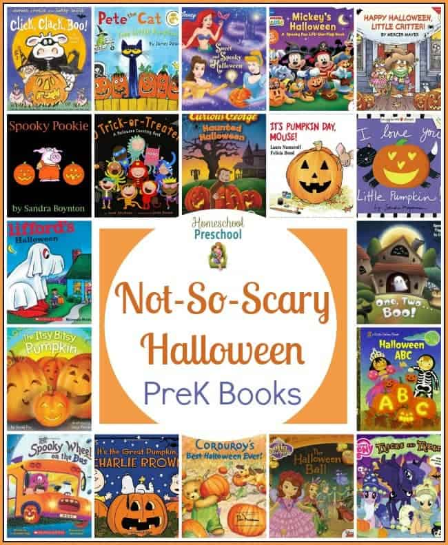 Halloween doesn't have to be spooky. It's fun to dress up and eat candy! Here are 20+ not-so-scary Halloween books for preschoolers! | homeschoolpreschool.net
