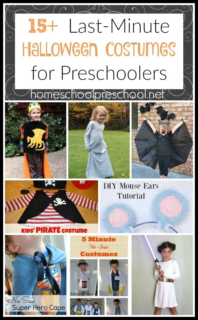 Looking for last-minute DIY costume ideas for your preschooler? Here are 16 awesome costumes - including a how-to video! | homeschoolpreschool.net