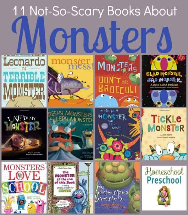 My little ones always loved reading about monsters, but they didn't love being scared. Here's a fun list of not-so-scary monster books to share with your preschoolers. | homeschoolpreschool.net