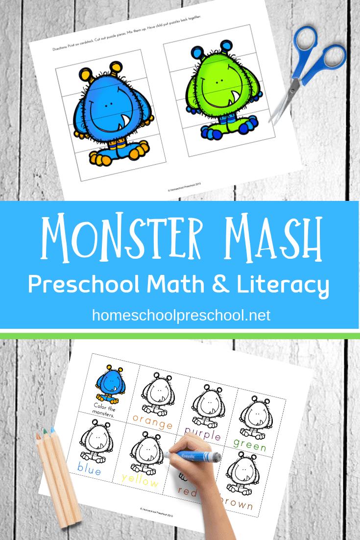 image relating to Mash Printable known as Monster Mash Preschool Printable Math and Literacy Enjoyment