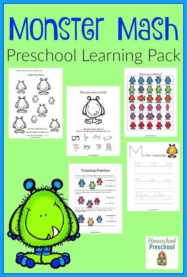 Your little monster will love this fun Monster Mash preschool learning pack! | homeschoolpreschool.net