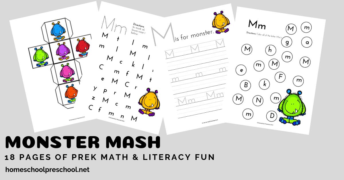 image regarding Mash Printable referred to as Monster Mash Preschool Printable Math and Literacy Pleasurable