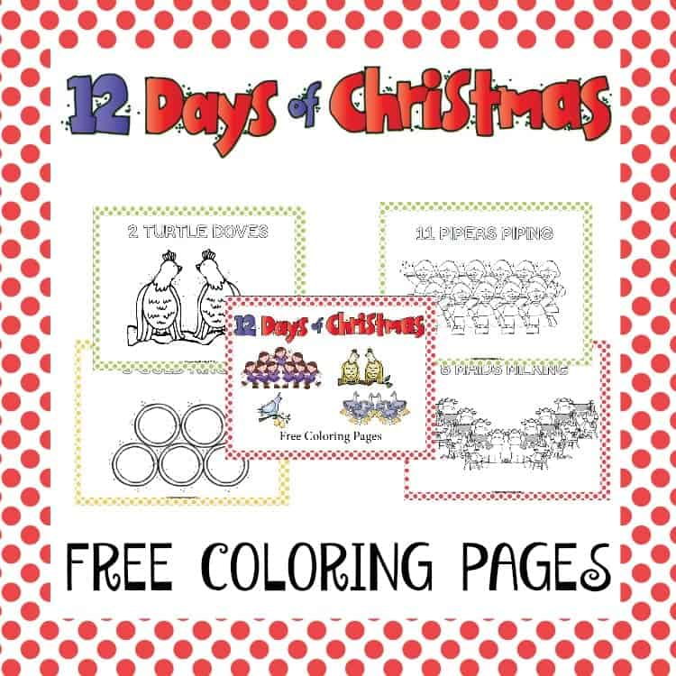 Kick off your holiday lessons with these free 12 Days of Christmas coloring pages. | homeschoolpreschool.net
