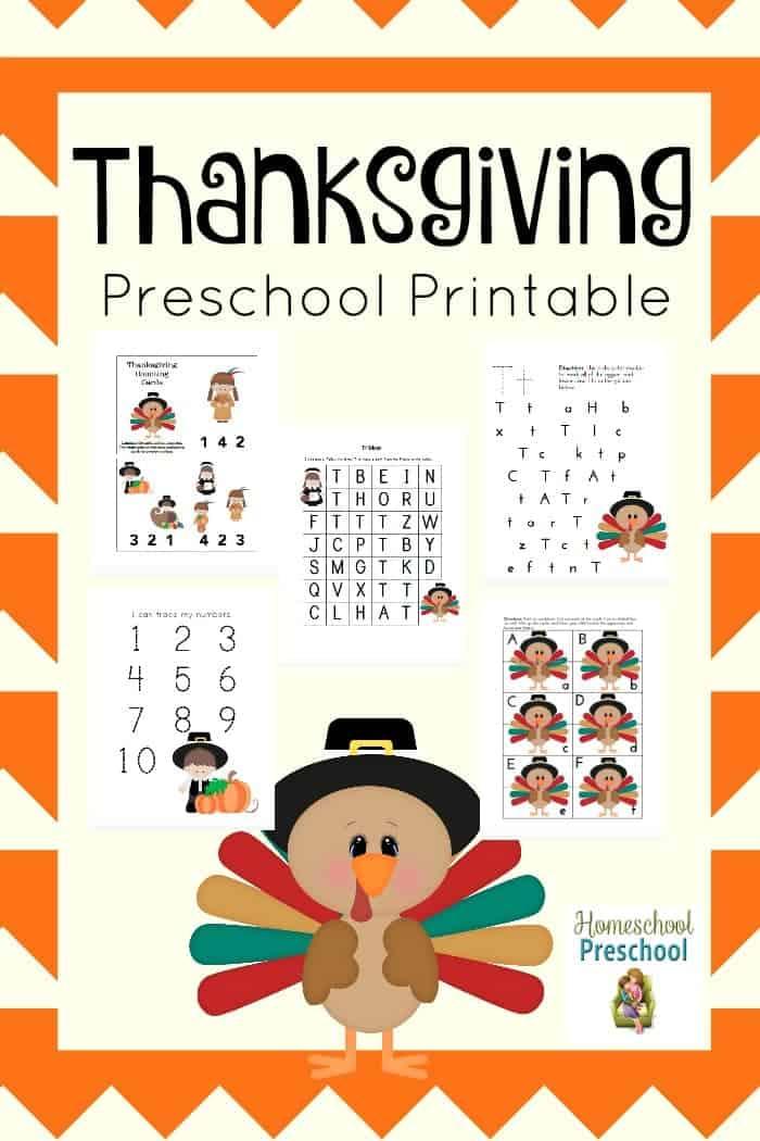 Here's a free Thanksgiving preschool pack that your little turkey is sure to enjoy! | homeschoolpreschool.net