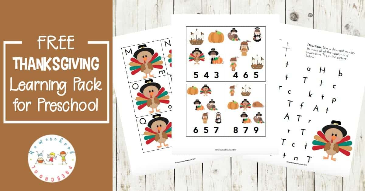 This Thanksgiving printable learning pack was designed with your preschoolers in mind. Little ones will focus on early math and literacy skills with these fun activities.