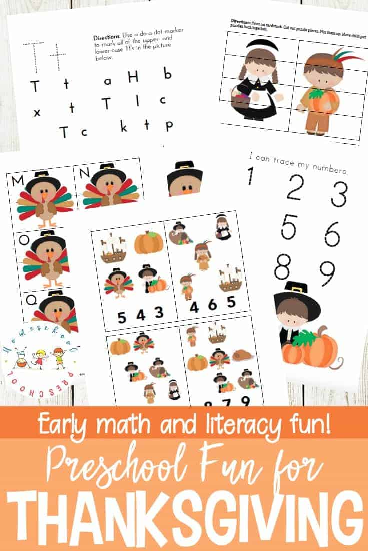 Thanksgiving Printable Learning Pack for Preschoolers