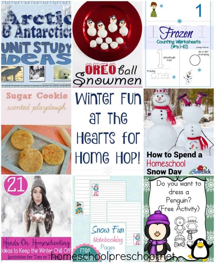 Check out these fun winter posts linked up with the Hearts for Home Blog Hop! | homeschoolpreschool.net