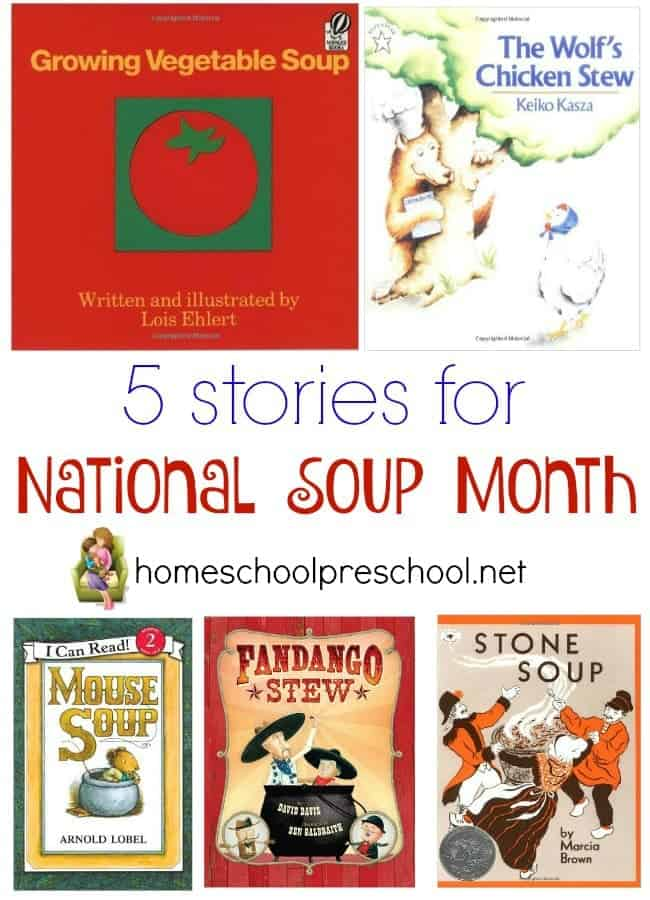 Did you know that January is National Soup Month? I didn't either, but it makes perfect sense. The weather is blustery and cold. It's perfect for curling up with hot soup and a good book. | homeschoolpreschool.net