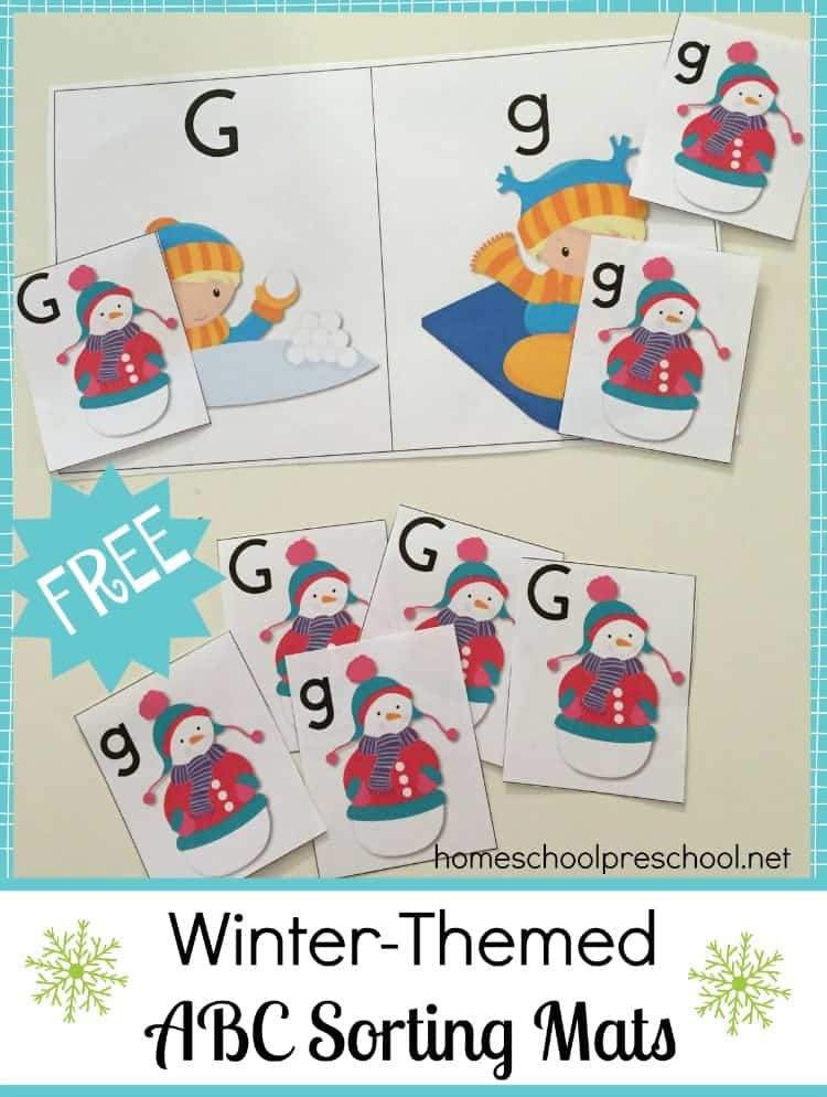 Spice up your preschool lessons with a set of fun winter-themed ABC Sorting Mats and Cards. | homeschoolpreschool.net