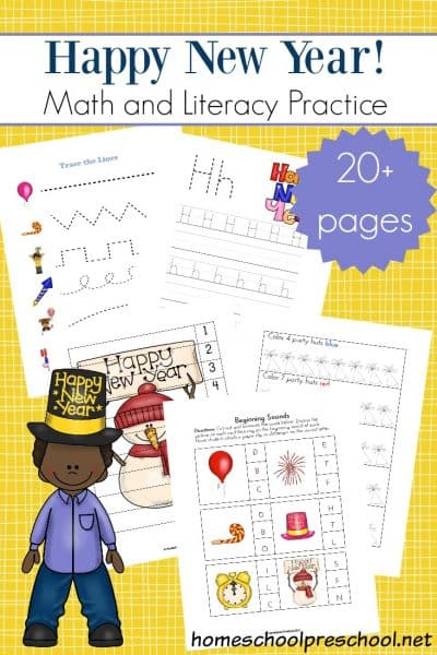 If you're excited about kicking off a brand new year with your little ones, here's a fun New Year preschool pack to print for your young learners.