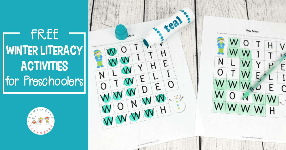 Preschoolers will work on letter recognition, handwriting, phonics, and more in these engaging winter-themed preschool literacy activities!