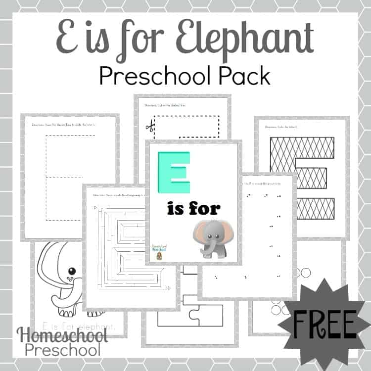 "This ""E is for Elephant"" preschool printable is full of letter E fun! Maze, dot-to-dot, and more. 