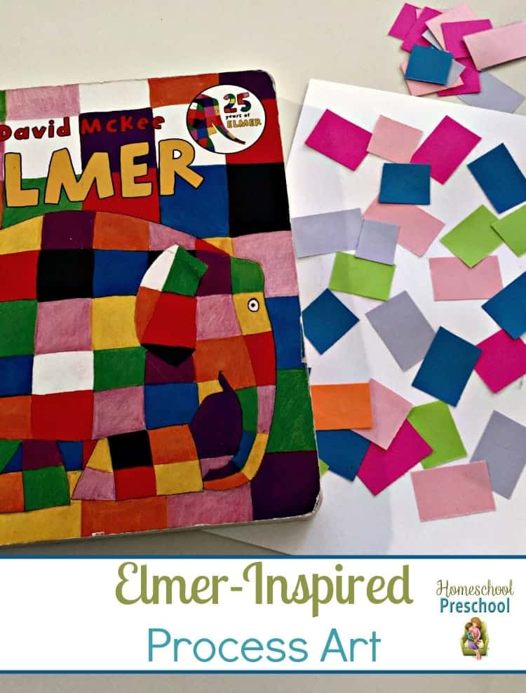 Process art allows preschoolers to be creative. It's open-ended instead of being focused on a finished product. Here's a fun Elmer-inspired process art project for preschoolers. | homeschoolpreschool.net