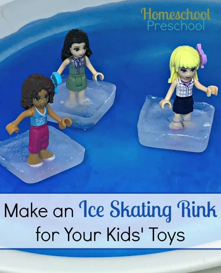 Make a homemade ice skating rink for your kids' toys, and keep them entertained for hours on a long winter afternoon! | homeschoolpreschool.net