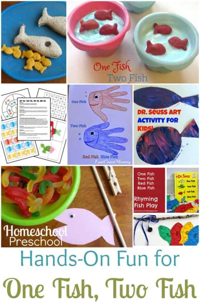 "Hands-on fun for Dr. Seuss's ""One Fish, Two Fish, Red Fish, Blue Fish"" | homeschoolpreschool.net"