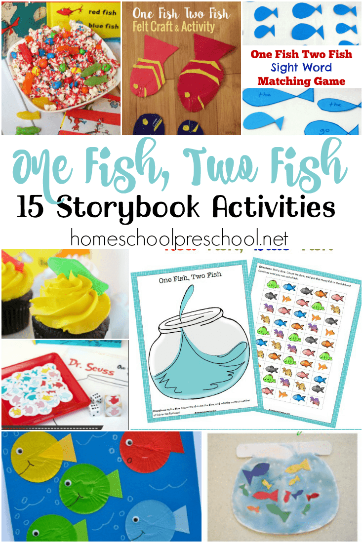 Here's a fun {and free} printable and list of hands-on activities to use with your preschoolers when you read One Fish, Two Fish, Red Fish, Blue Fish. | @homeschlprek