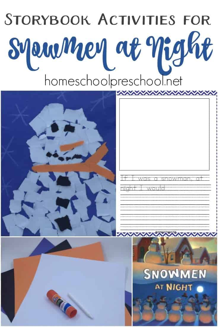 Have your kids ever noticed their snowman looks a little different in the morning? Is he a little droopy? A little lop-sided? Do they ever wonder what it is he did overnight? Read Snowmen at Night, do a little art, and let them create a story answering that very question. | homeschoolpreschool.net