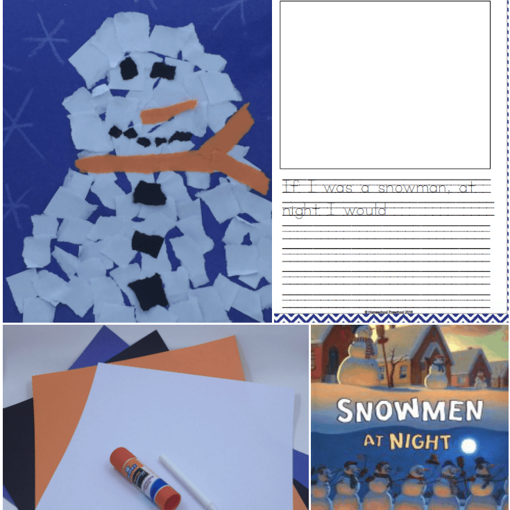 Snowmen at Night Art Project and Printable Writing Prompt