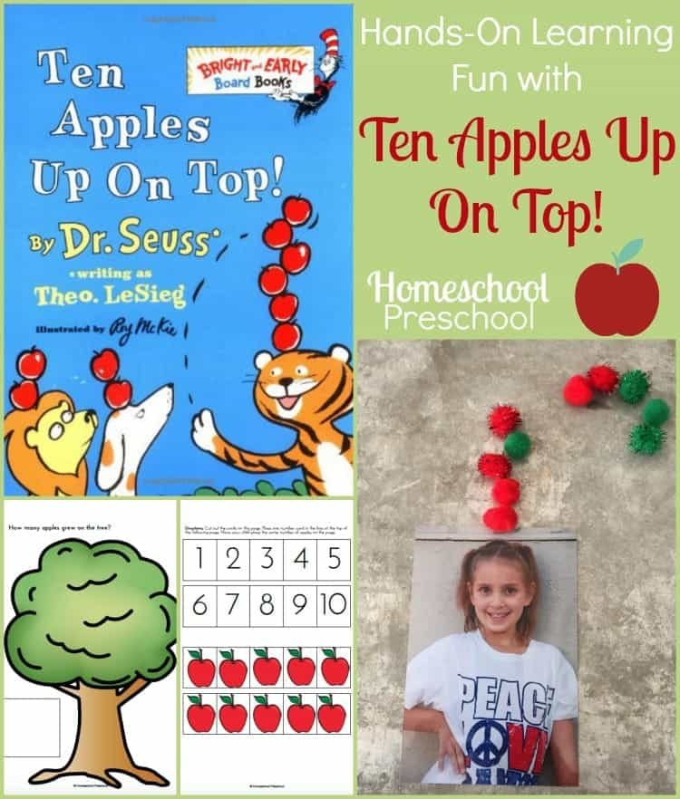 Hands-on learning fun and a FREE printable to use when you read Ten Apples Up On Top with your preschoolers. | homeschoolpreschool.net