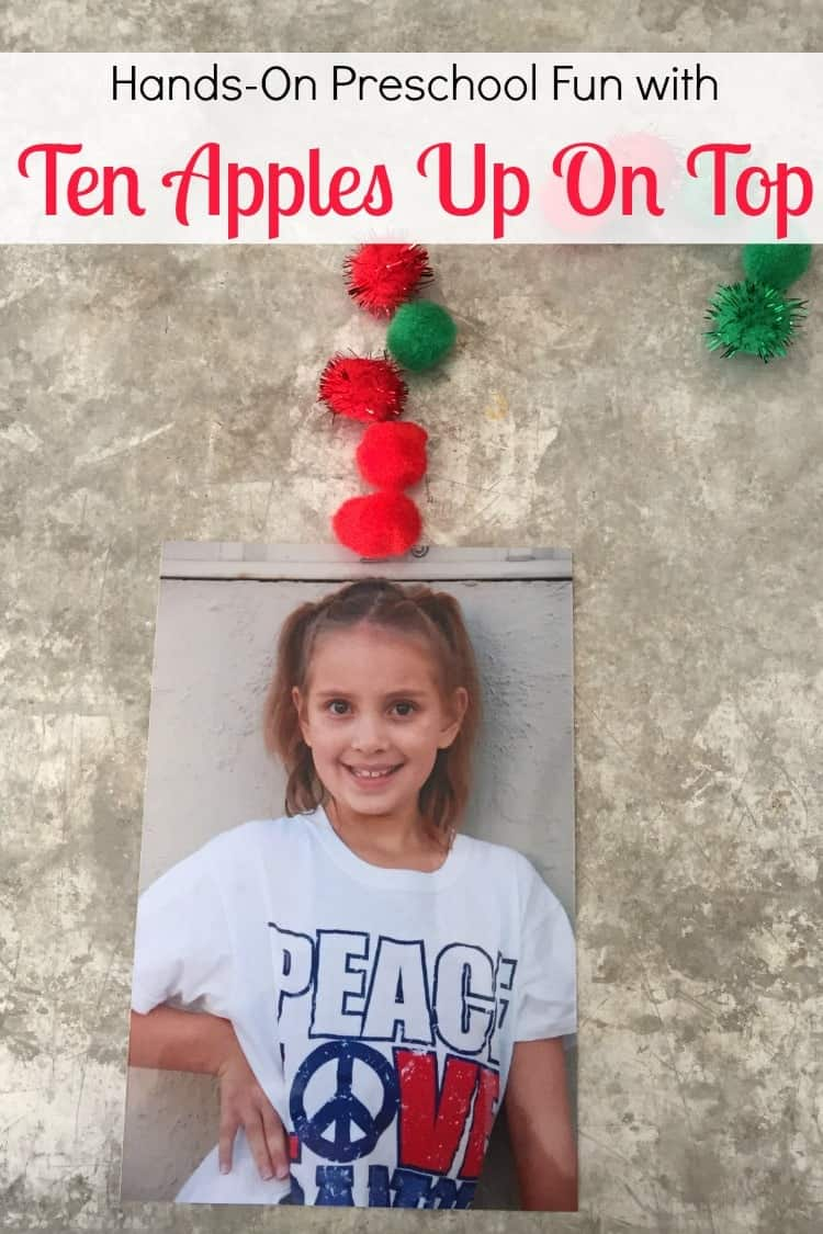 Hands-on learning fun and a FREE printable to use when you read Ten Apples Up On Top with your preschoolers.   homeschoolpreschool.net