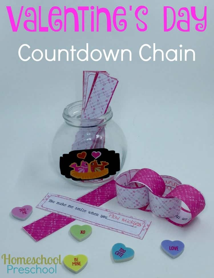 Help your kids countdown to Valentine's Day with this free printable countdown chain. | homeschoolpreschool.net