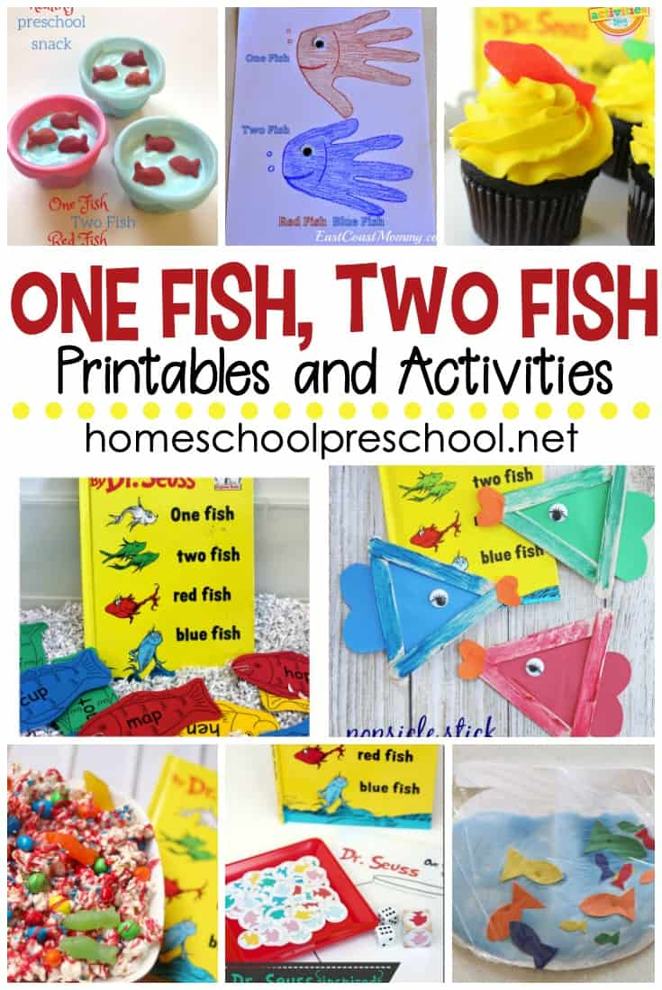 Come discover fifteen hands-on One Fish Two Fish printables and activities to use alongside the Dr. Seuss book. Your preschoolers will love them!