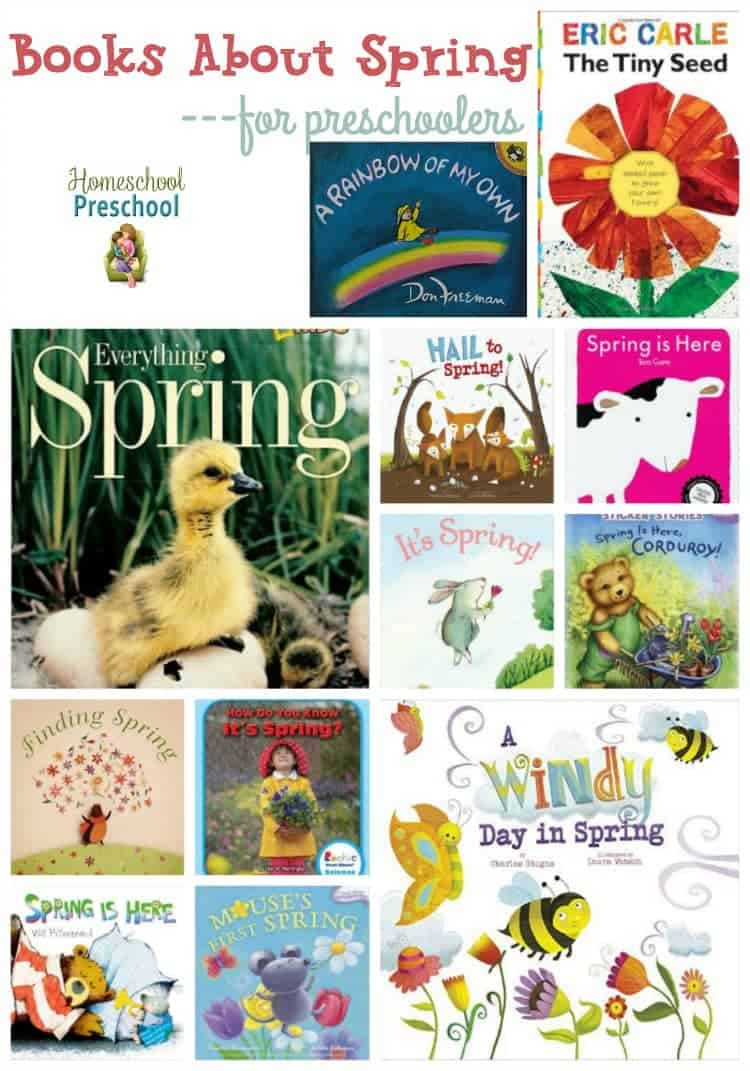 Spring is just around the corner. It's a great time to teach your preschoolers about all things spring - weather, butterflies, seeds, rainbows, and more. Here's a list of 25 books about spring to get you started! | homeschoolpreschool.net