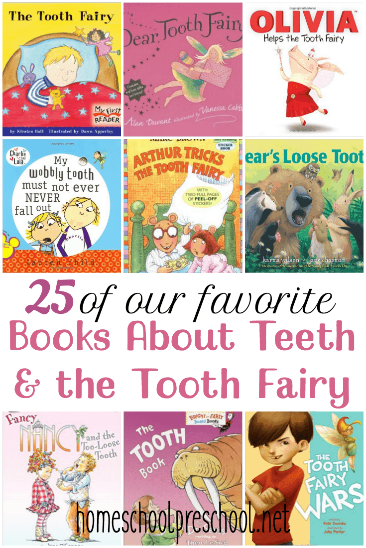 Here's a great list of books about teeth and the tooth fairy to read with your kids while they are preparing for a visit from the Tooth Fairy. | homeschoolpreschool.net