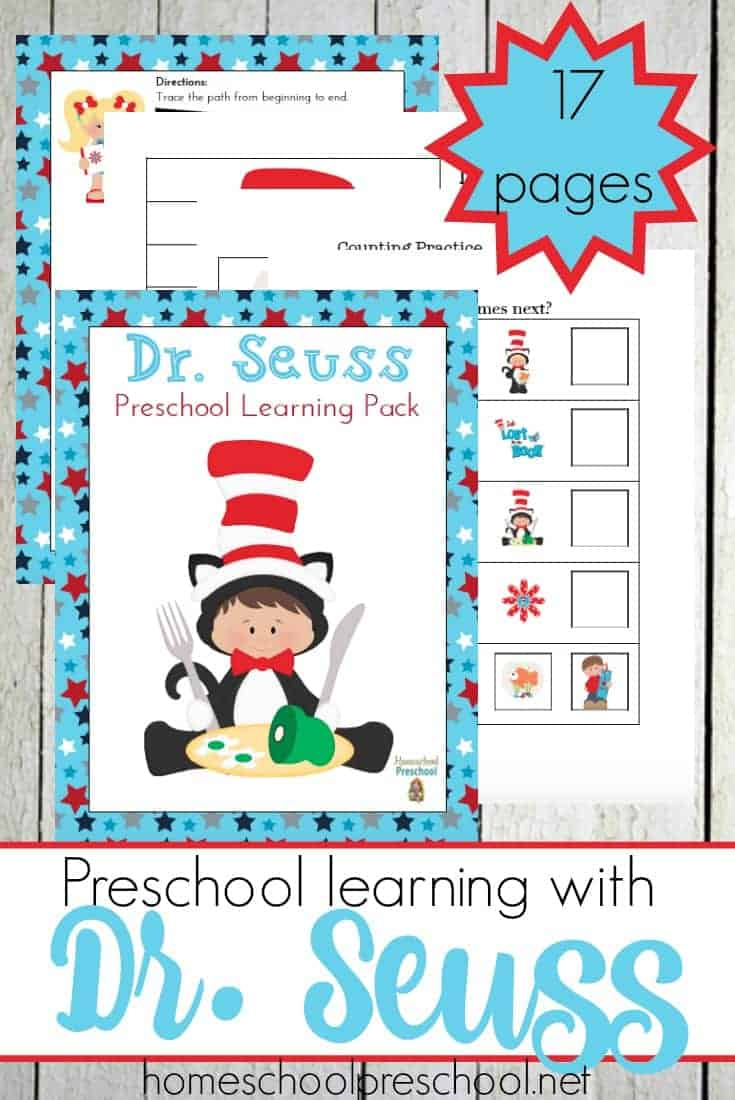 Dr. Seuss's birthday is next month. Let's celebrate with a fun Dr. Seuss-inspired preschool printable full of fun activities for your little ones to enjoy! @homeschlprek