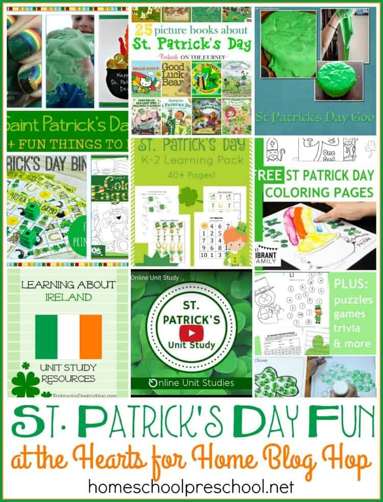 Stop by for some St. Patrick's Day fun, and link up your family-friendly posts at this week's Hearts for Home Blog Hop! | homeschoolpreschool.net