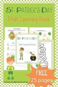 St Patricks Day is just around the corner, and here's a fun little printable for your preschoolers. With rainbows and leprechauns adorning these activity pages, your little ones will be ready to practice their numbers, letters, and much more! | homeschoolpreschool.net