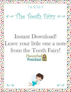 Instant Download! Leave your little one a note from the Tooth Fairy! | homeschoolpreschool.net