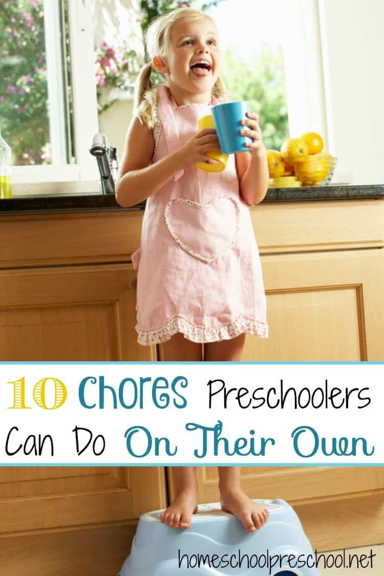 What are some chores that you can do with your toddler or preschooler? Here's a list of ideas for things your child can do with you. Many of them can even be done independently by older preschoolers. | homeschoolpreschool.net
