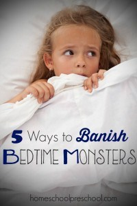 Most children go through a stage where they are convinced that there are monsters in their room at night. No one likes to see their kiddo scared, and chances are they will probably end up in your bed if they are afraid to sleep in their own. I am sharing a few tips and tricks for banishing bedtime monsters. | homeschoolpreschool.net