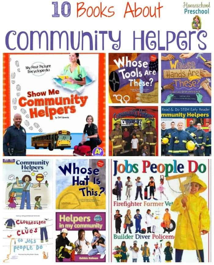 It's important for little ones to know about the people in their communities whose job it is to keep them safe. This is a great list of picture books all about community helpers. | homeschoolpreschool.net