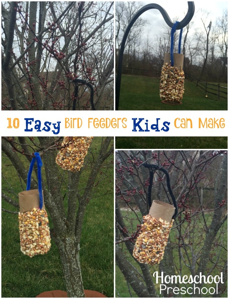 Now that spring is just around the corner, the leaves are budding on our backyard trees. This means we are beginning to get more and more backyard visitors. We like to entice them to visit by keeping our bird feeders stocked with bird seed all spring. | homeschoolpreschool.net