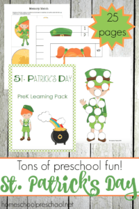 Your little ones will enjoy this St Patricks Day Preschool Pack! It features leprechauns and rainbows, and it's packed full of learning fun! | @homeschlprek