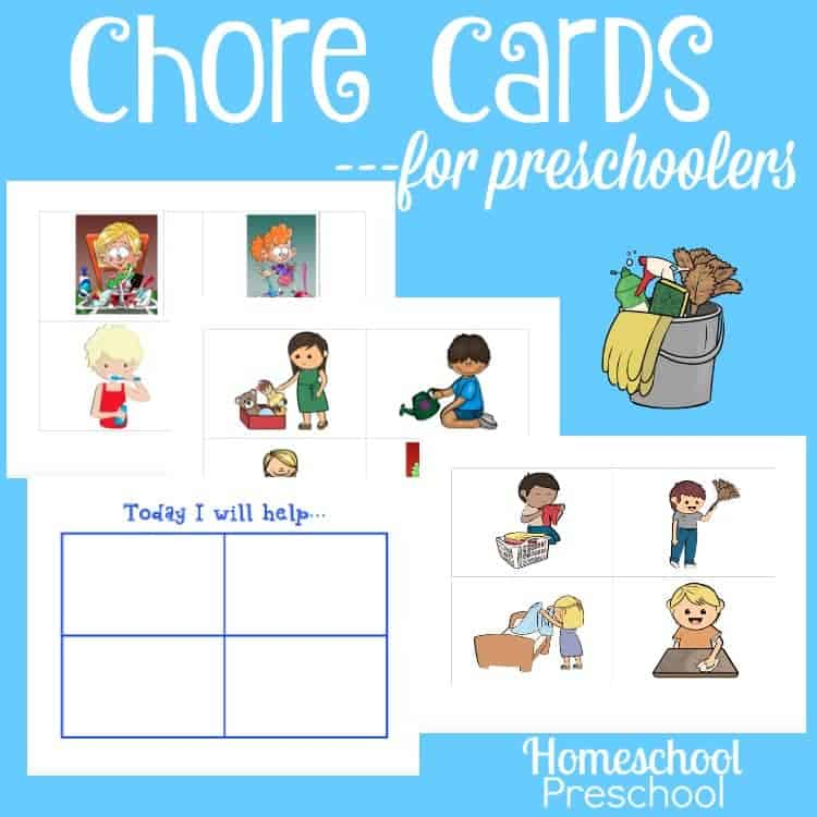 What are some chores that you can do with your toddler or preschooler? Here's a list of ideas for things your child can do with you. Many of them can even be done independently by older preschoolers. Download these free chore cards designed with your preschooler in mind. | homeschoolpreschool.net