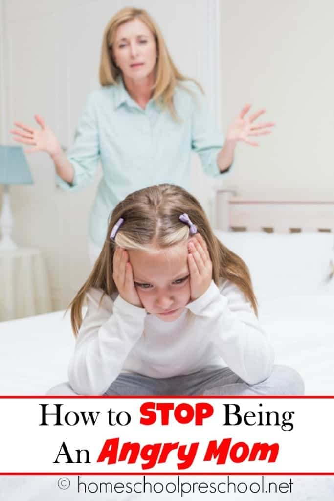 Are you tired of being angry? Me, too! I'm tired of snapping at my kids all the time. I'm tired of looking in their eyes after I've yelled - again - and seeing the hurt that I've caused. But, how can we stop being an angry? Here's help! | homeschoolpreschool.net