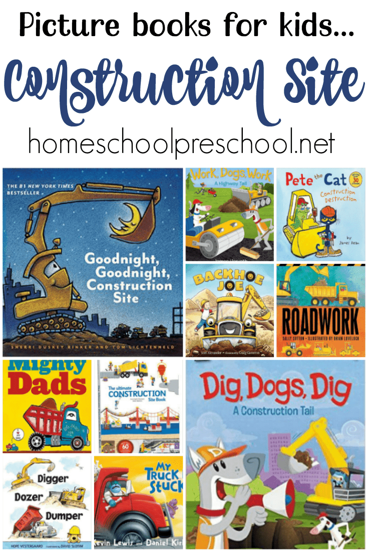 Check out this amazing book list! It contains 20 of the best construction site books for kids! | @homeschlprek