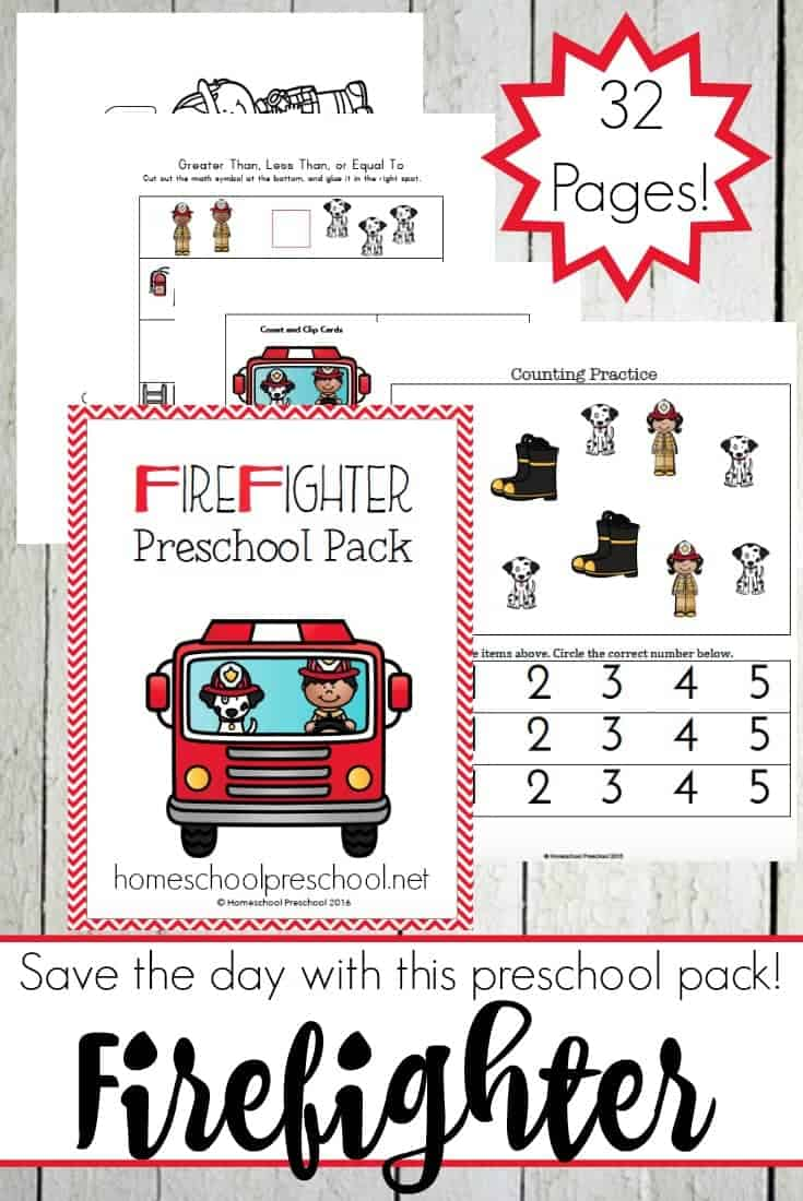 You'll save the day with this free Fireman printable for preschoolers! Stop by and download yours today! | homeschoolpreschool.net