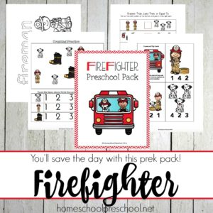 Firefighter Preschool Printable Learning Pack