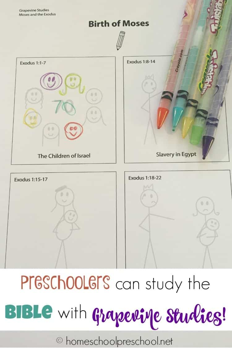 With traceable pages designed especially for 3-5 year olds, preschoolers can join in the family Bible study with Grapevine Studies!   homeschoolpreschool.net
