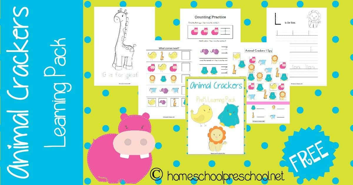 Your preschoolers will love this free Animal Crackers learning pack. This free printable has 40+ pages full of learning activities for your little ones. | homeschoolpreschool.net