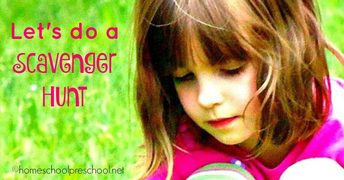 Scavenger Hunts are fun to play with your preschool children at home or at the park. | homeschoolpreschool.net
