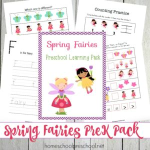 Printable Spring Fairies Preschool Learning Pack