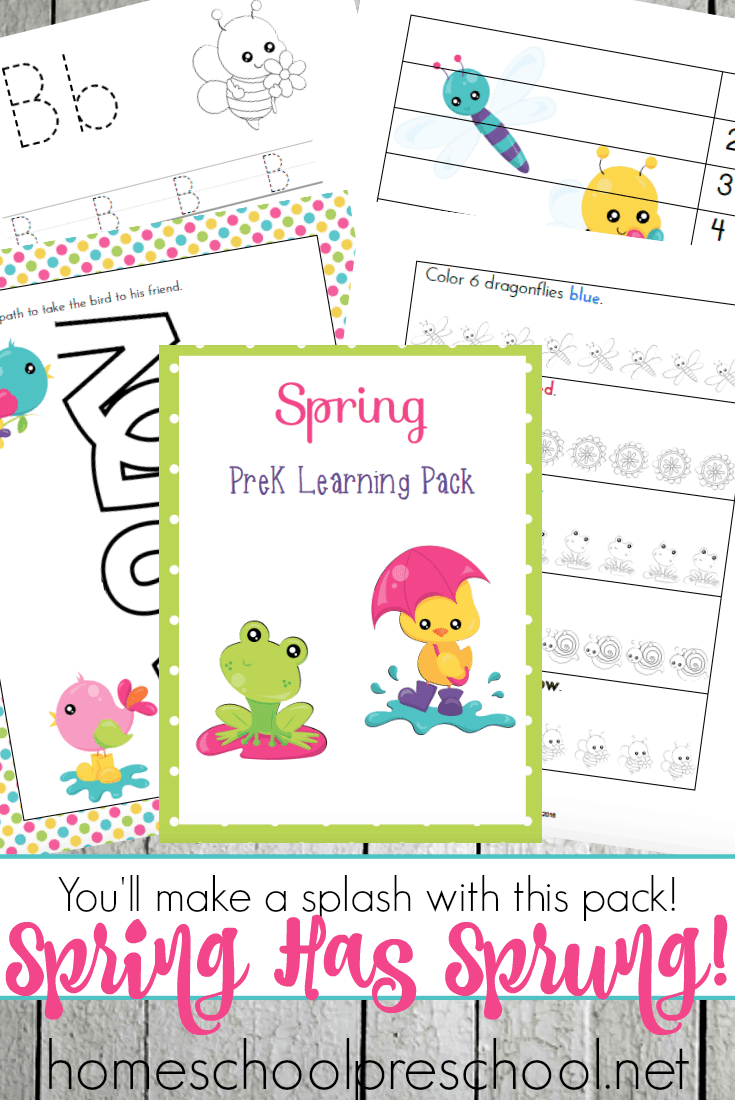Spring has sprung, and I have a new preschool printable! This spring learning pack is the perfect addition to your upcoming homeschool lessons. | homeschoolpreschool.net