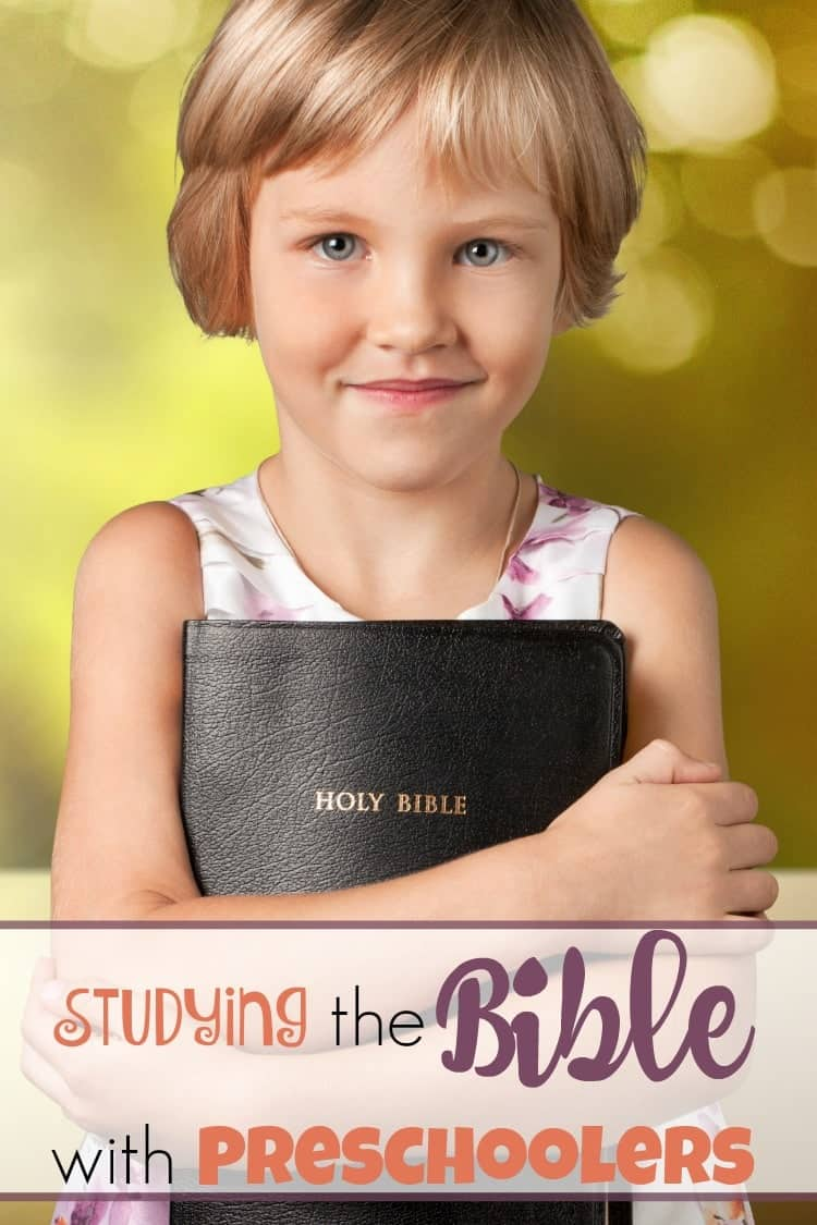 Digging into the Bible with preschoolers can be tricky. Their attention spans can be short. Bible concepts can sometimes be tough for little ones to understand. How can you study the Bible with squirmy, rambunctious preschoolers? Here's a peek at some of my favorite resources! | homeschoolpreschool.net